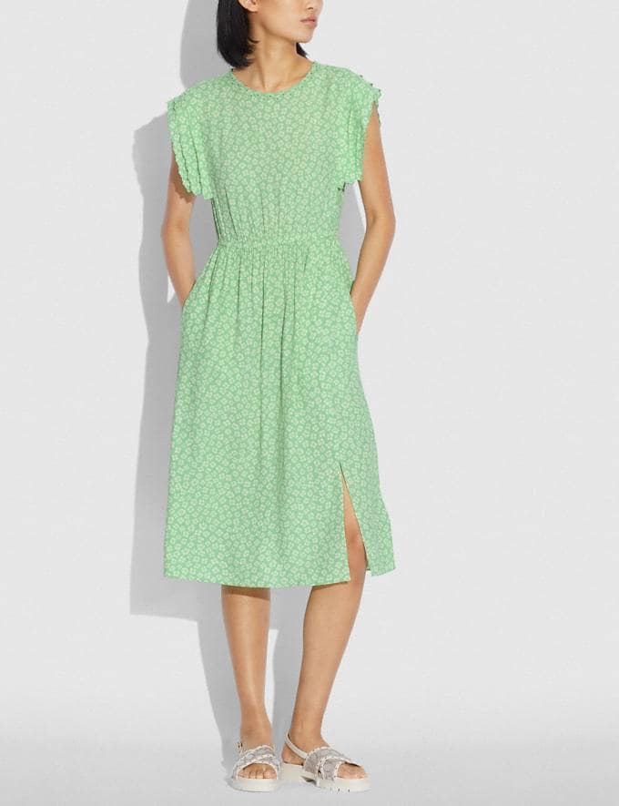 Coach Graphic Ditsy Shoulder Pleat Midi Dress Green/White null Alternate View 1
