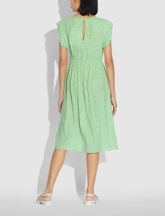 Coach Graphic Ditsy Shoulder Pleat Midi Dress Green/White null Alternate View 2