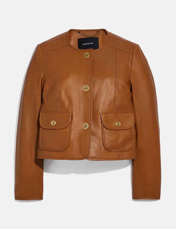 Coach Cardi Leather Jacket Pecan null
