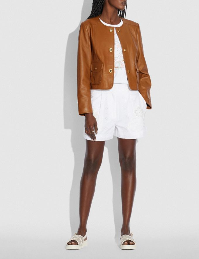 Coach Cardi Leather Jacket Pecan null Alternate View 1