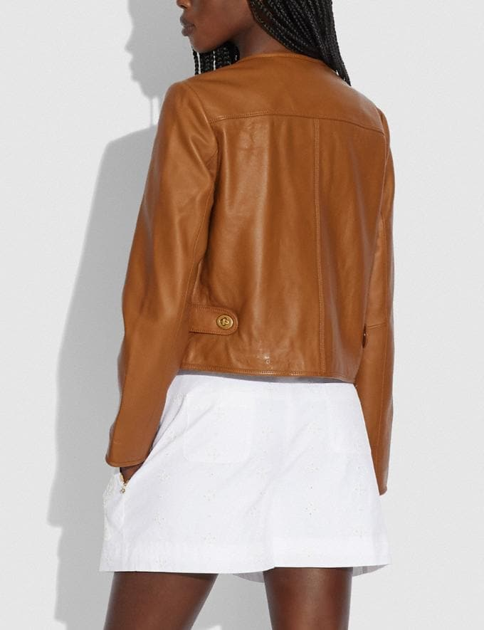 Coach Cardi Leather Jacket Pecan null Alternate View 2