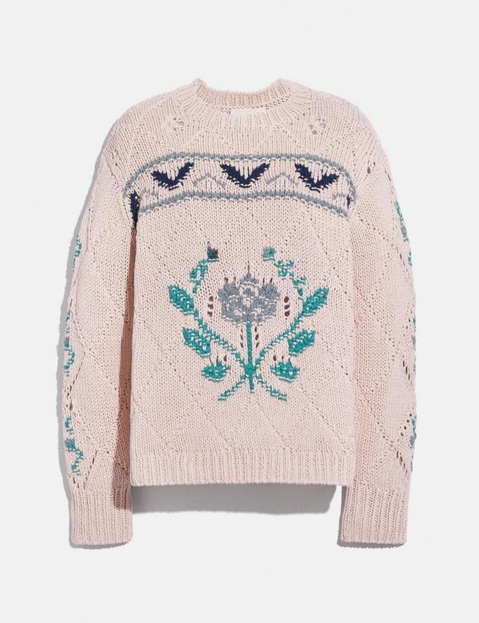 Coach Pointelle Crewneck Sweater Light Pink null