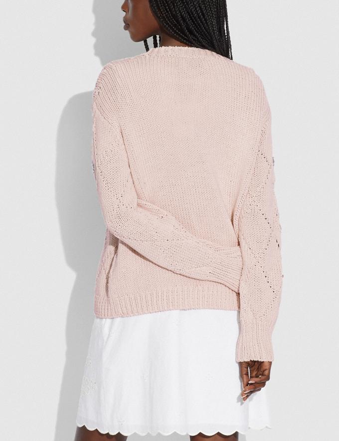 Coach Pointelle Crewneck Sweater Light Pink null Alternate View 2
