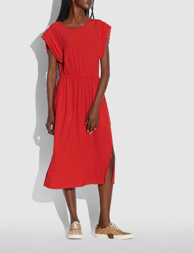 Coach Shoulder Pleat Midi Dress Red null Alternate View 1