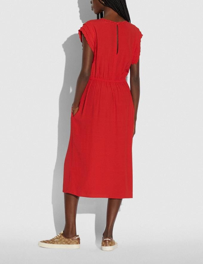 Coach Shoulder Pleat Midi Dress Red null Alternate View 2