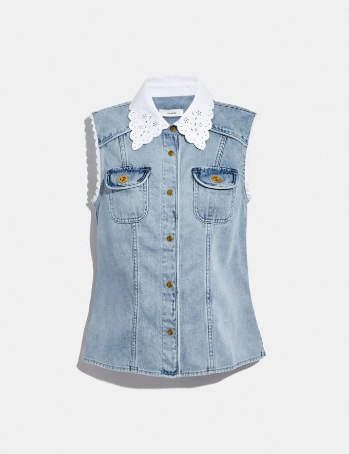 Coach Sleeveless Denim Shirt Vintage Stone Wash Translations 5.1 Retail