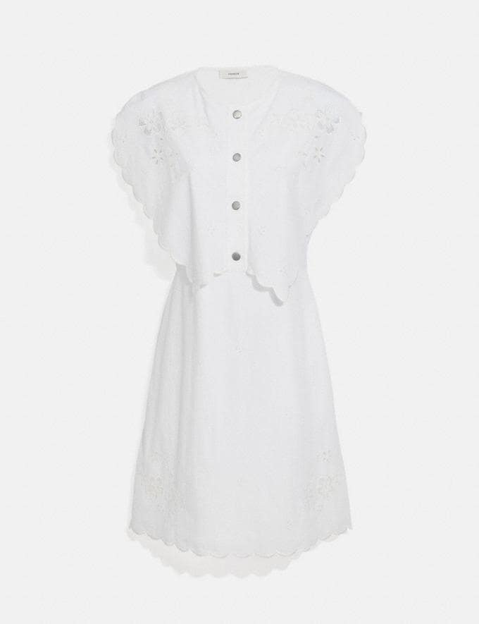 Coach Short Broderie Anglaise Dress Off White null