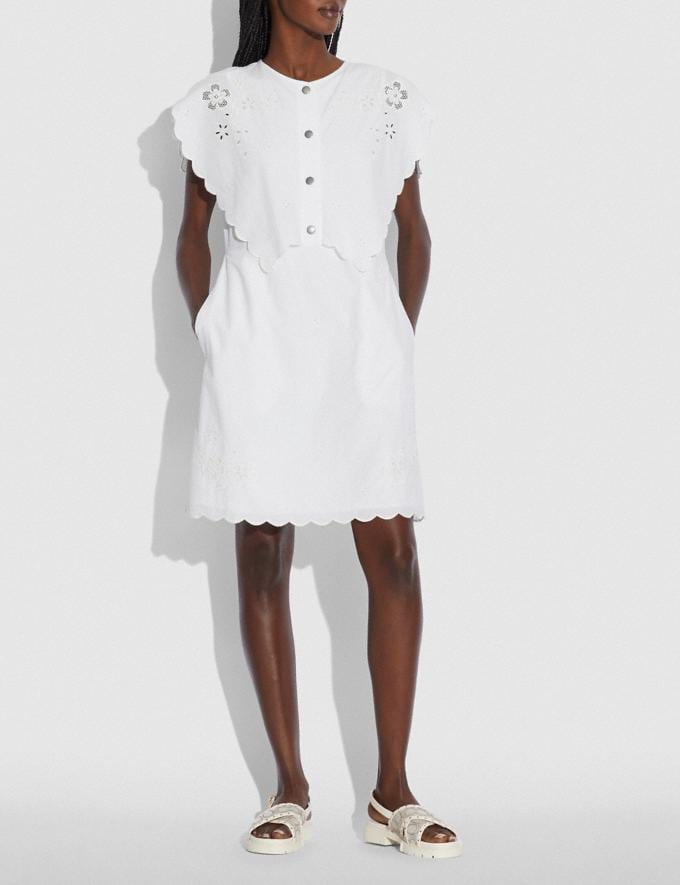 Coach Short Broderie Anglaise Dress Off White null Alternate View 1