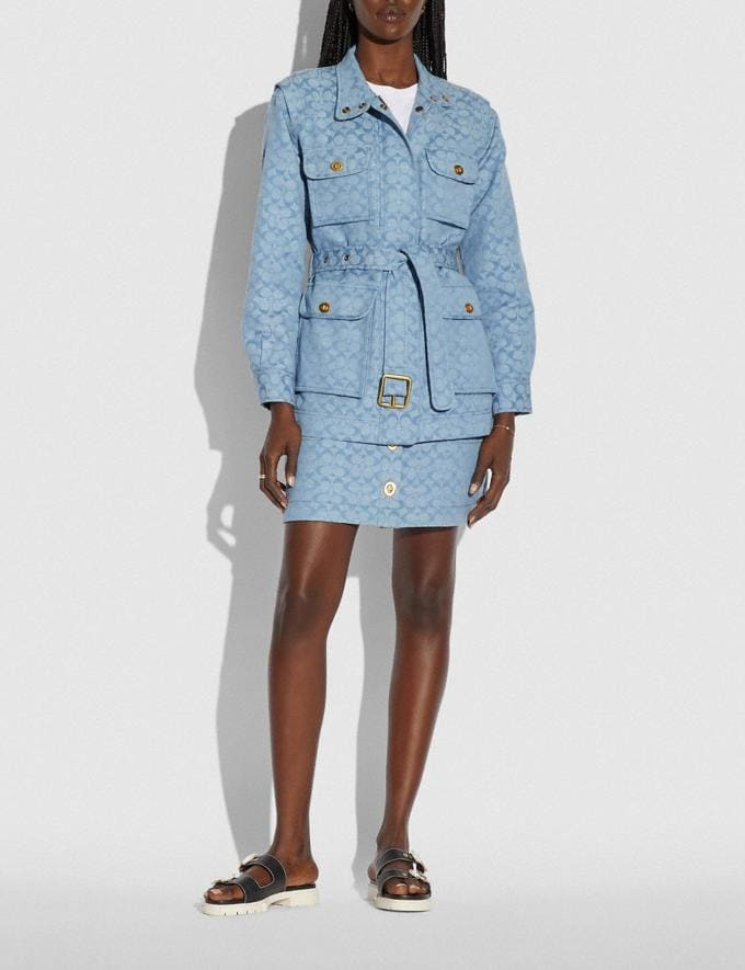 Coach Signature Chambray Field Jacket Sig C Chambray null Alternate View 1