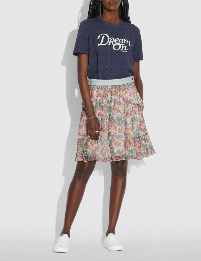 Coach Denim Waistband Mini Skirt Purple/Green Translations 5.1 Retail Alternate View 1