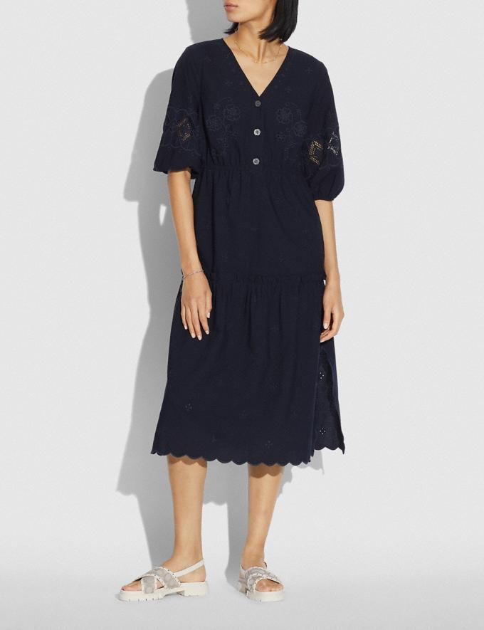 Coach Broderie Anglaise Shirt Dress Navy null Alternate View 1