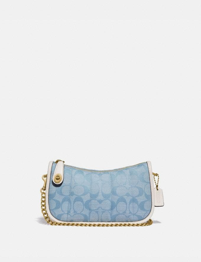 Coach Swinger 20 in Signature Chambray With Quilting Brass/Light Washed Denim Chalk null