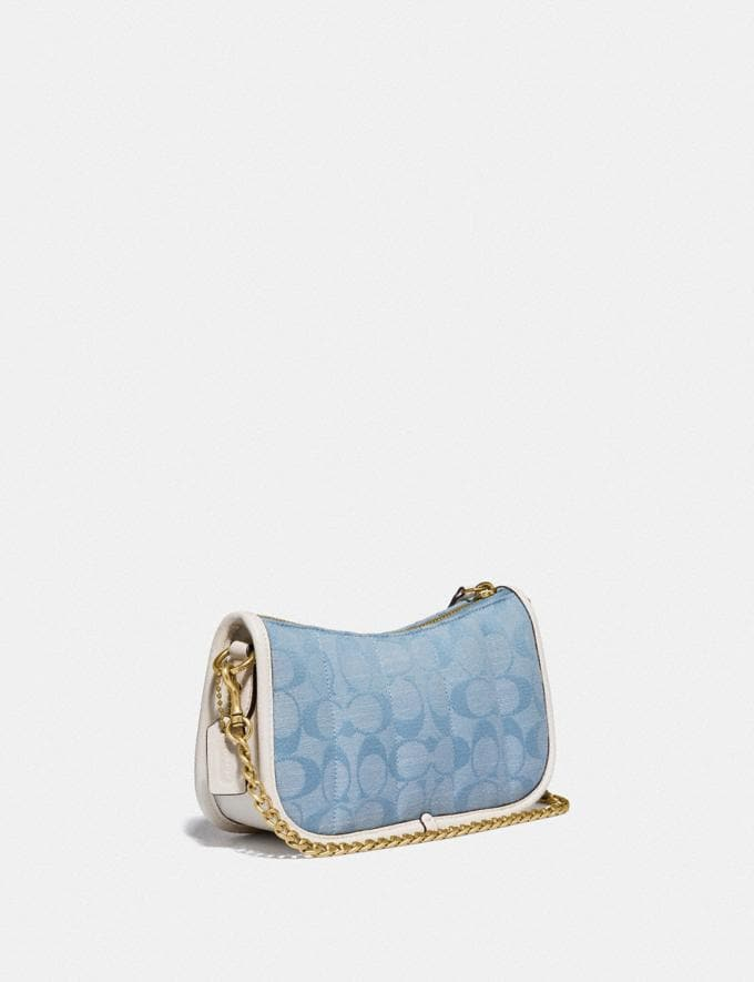 Coach Swinger 20 in Signature Chambray With Quilting Brass/Light Washed Denim Chalk null Alternate View 1