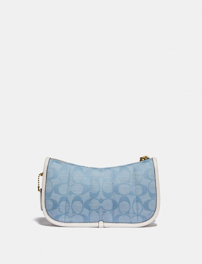 Coach Swinger 20 in Signature Chambray With Quilting Brass/Light Washed Denim Chalk null Alternate View 2