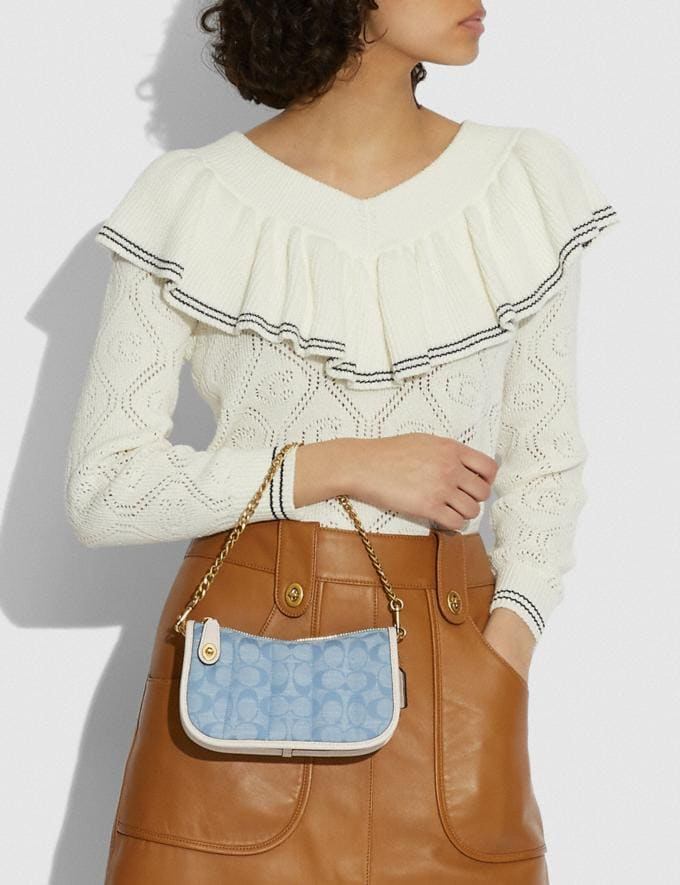 Coach Swinger 20 in Signature Chambray With Quilting Brass/Light Washed Denim Chalk null Alternate View 4