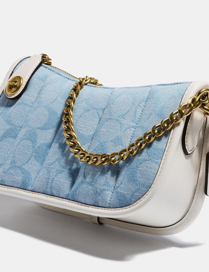 Coach Swinger 20 in Signature Chambray With Quilting Brass/Light Washed Denim Chalk null Alternate View 5