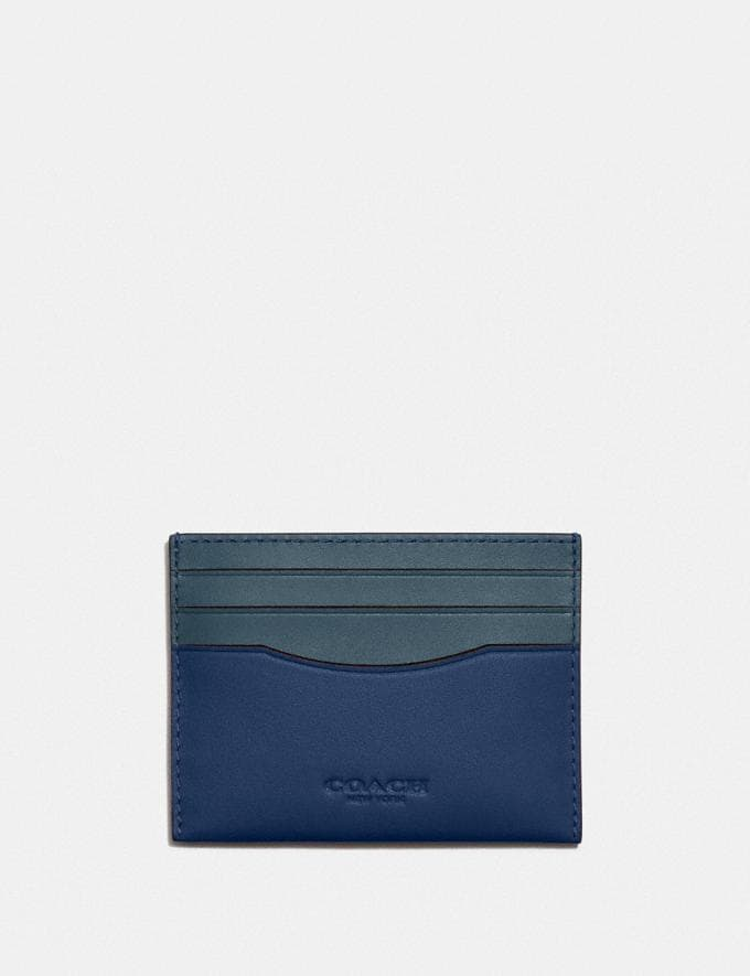 Coach Card Case in Colorblock Deep Blue/Prussian DEFAULT_CATEGORY