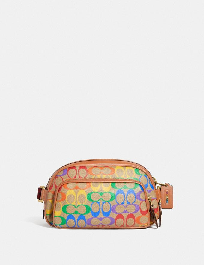 Coach Hitch Belt Bag in Rainbow Signature Canvas Brass/Saddle Multi DEFAULT_CATEGORY