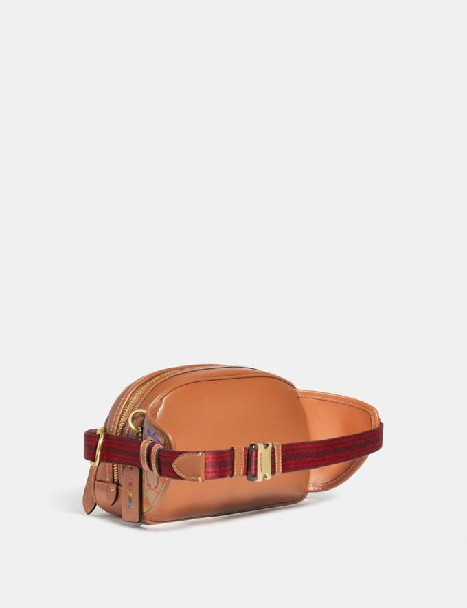 Coach Hitch Belt Bag in Rainbow Signature Canvas Brass/Saddle Multi DEFAULT_CATEGORY Alternate View 1