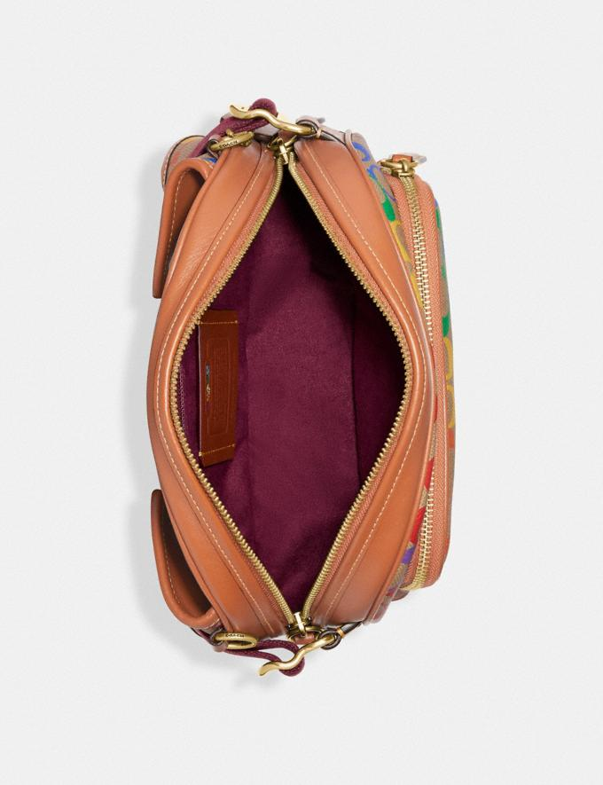 Coach Hitch Belt Bag in Rainbow Signature Canvas Brass/Saddle Multi DEFAULT_CATEGORY Alternate View 2