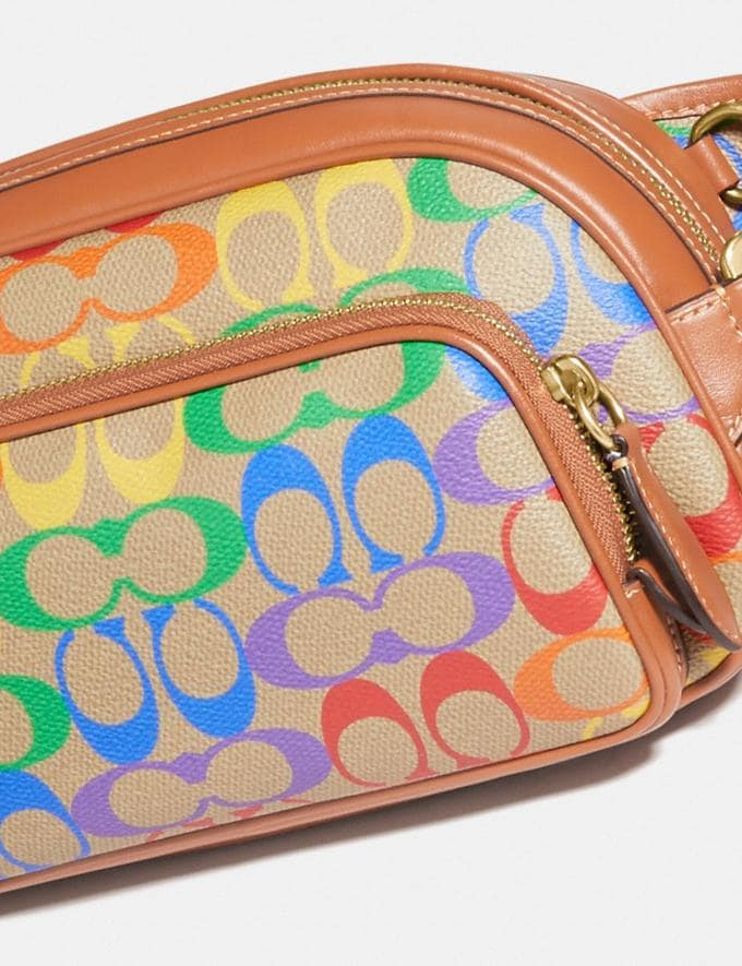 Coach Hitch Belt Bag in Rainbow Signature Canvas Brass/Saddle Multi DEFAULT_CATEGORY Alternate View 4