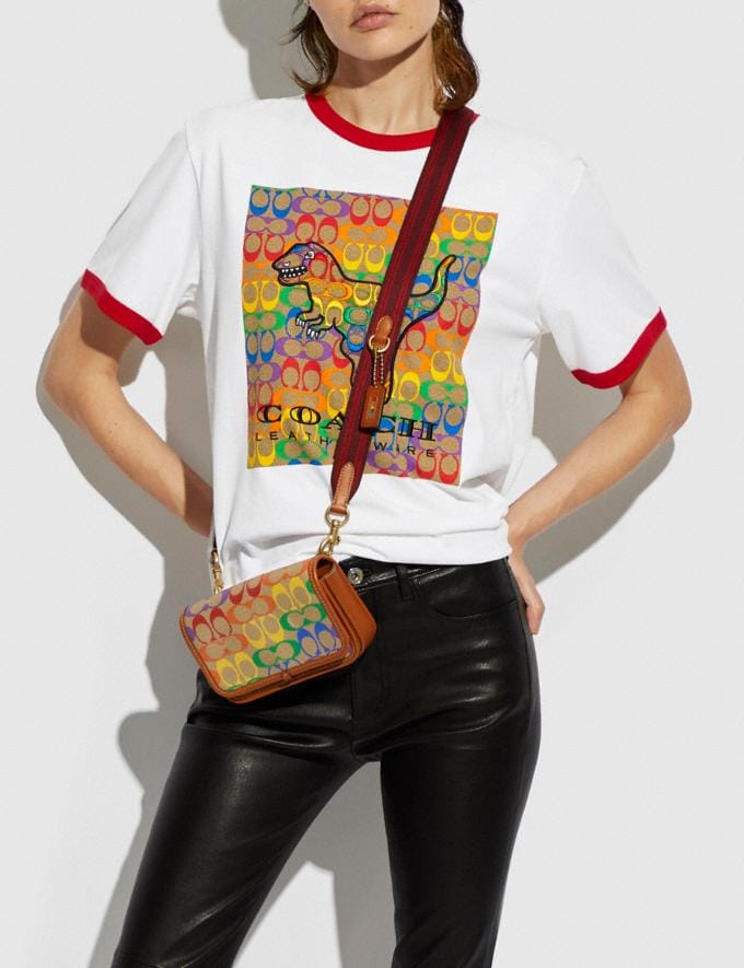 Coach Charter Phone Crossbody in Rainbow Signature Canvas Saddle Multi New Featured Coach Pride Collection Alternate View 3