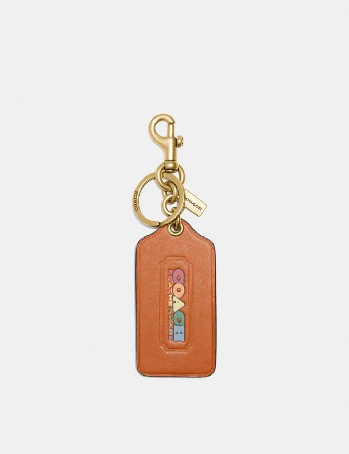 Coach Hangtag in Rainbow Signature Canvas Brass/Hazelnut/Multi New Featured Coach Pride Collection