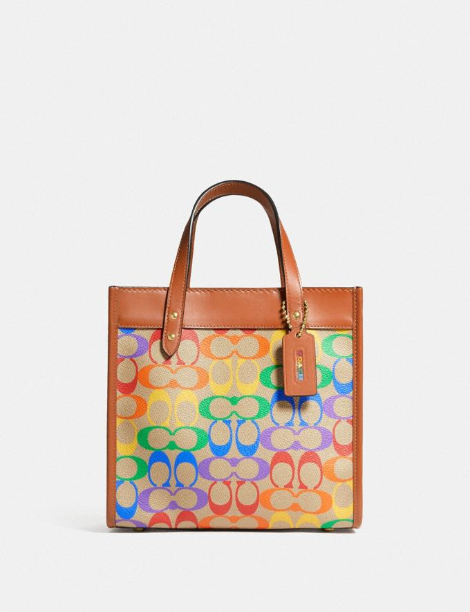 Coach Field Tote 22 in Rainbow Signature Canvas Brass/Tan Natural Multi New Featured Coach Pride Collection