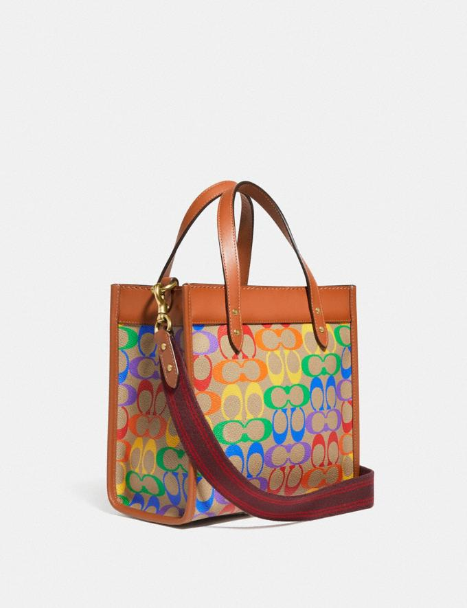 Coach Field Tote 22 in Rainbow Signature Canvas Brass/Tan Natural Multi New Featured Coach Pride Collection Alternate View 1