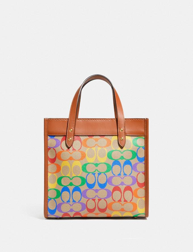Coach Field Tote 22 in Rainbow Signature Canvas Brass/Tan Natural Multi New Featured Coach Pride Collection Alternate View 2