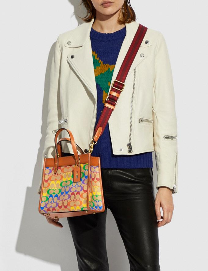 Coach Field Tote 22 in Rainbow Signature Canvas Brass/Tan Natural Multi New Featured Coach Pride Collection Alternate View 4