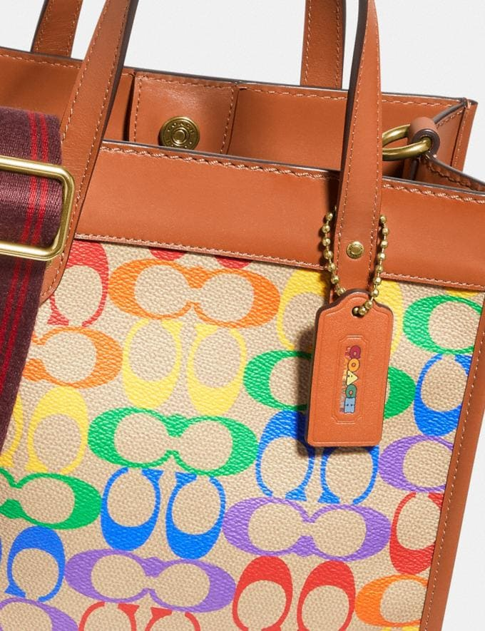 Coach Field Tote 22 in Rainbow Signature Canvas Brass/Tan Natural Multi New Featured Coach Pride Collection Alternate View 5