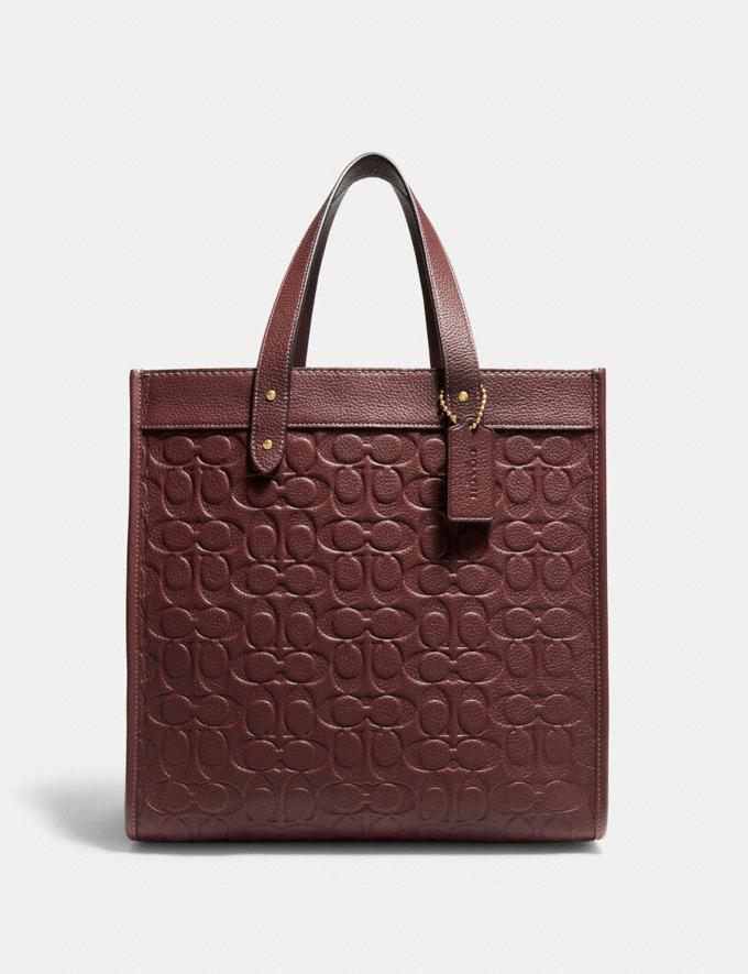 Coach Field Tote in Signature Leather B4/Wine Translations 10.1 retail newness