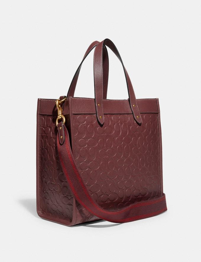 Coach Field Tote in Signature Leather B4/Wine Translations 10.1 retail newness Alternate View 1