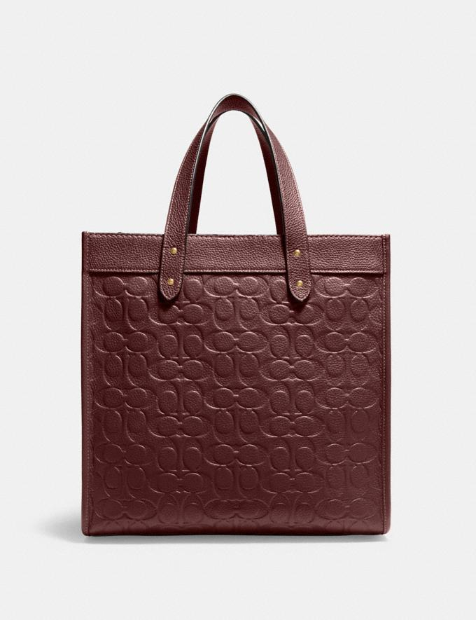 Coach Field Tote in Signature Leather B4/Wine Translations 10.1 retail newness Alternate View 2