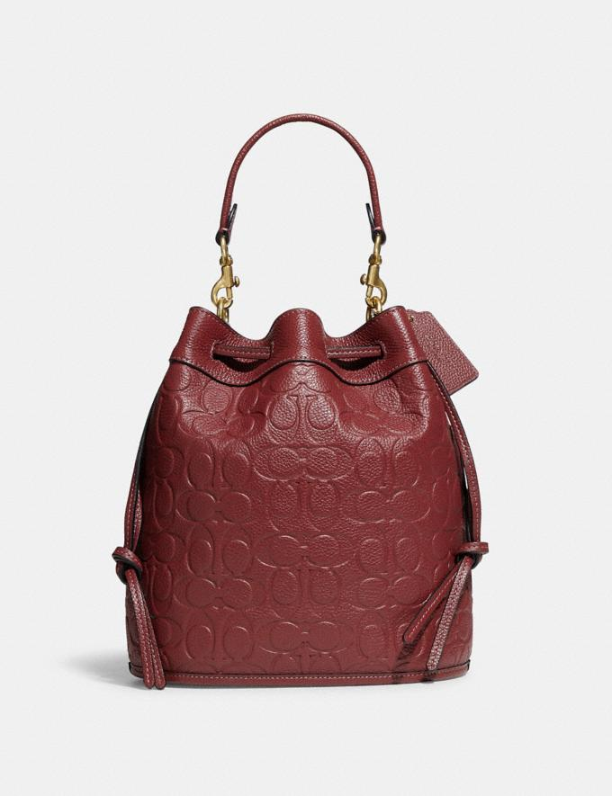 Coach Field Bucket Bag in Signature Leather B4/Wine Translations 10.1 retail newness