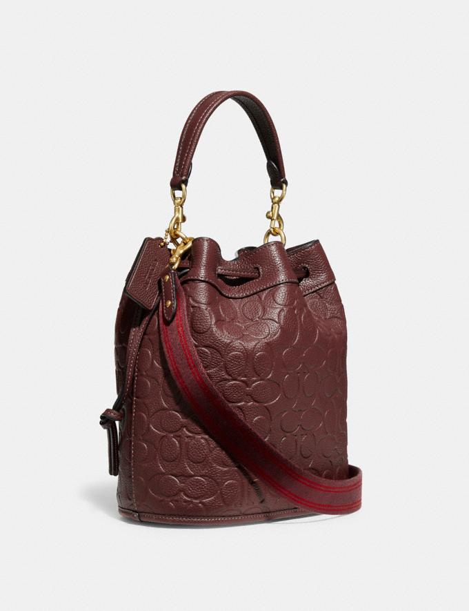 Coach Field Bucket Bag in Signature Leather B4/Wine Translations 10.1 retail newness Alternate View 1