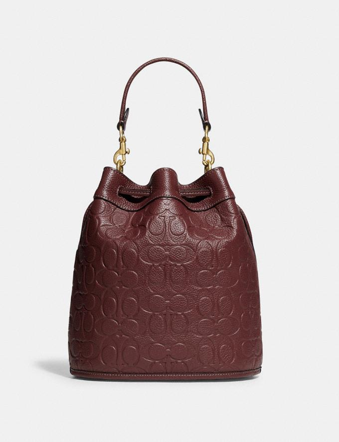 Coach Field Bucket Bag in Signature Leather B4/Wine Translations 10.1 retail newness Alternate View 2