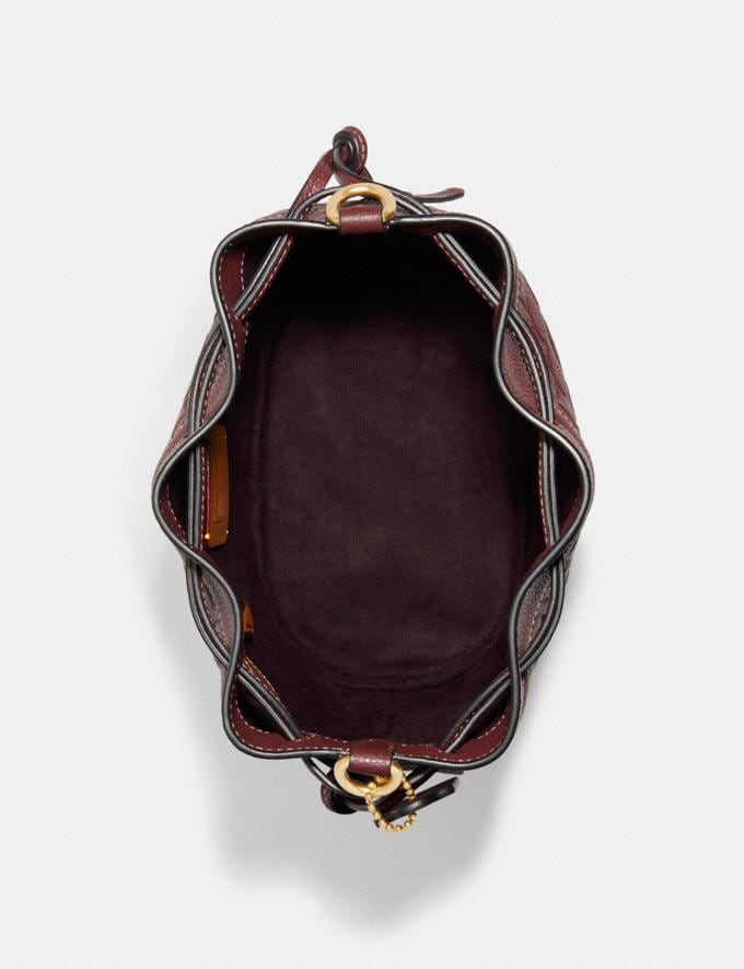 Coach Field Bucket Bag in Signature Leather B4/Wine Translations 10.1 retail newness Alternate View 3