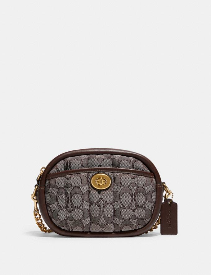 Coach Small Camera Bag in Signature Jacquard With Quilting B4/Oak Maple New Women's New Arrivals Bags