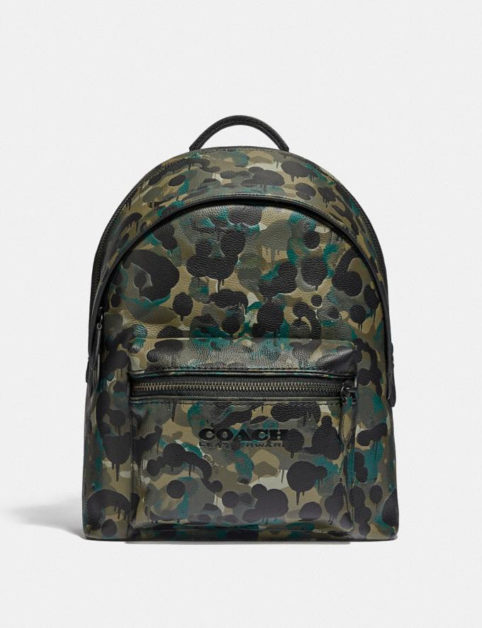 Coach Charter Backpack With Camo Print Matte Black/Green/Blue DEFAULT_CATEGORY