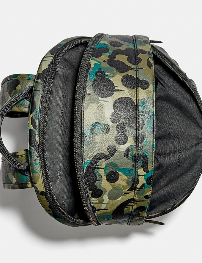 Coach Charter Backpack With Camo Print Matte Black/Green/Blue DEFAULT_CATEGORY Alternate View 2