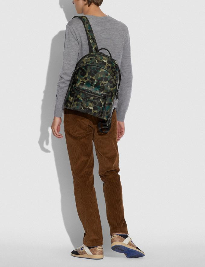 Coach Charter Backpack With Camo Print Matte Black/Green/Blue DEFAULT_CATEGORY Alternate View 3