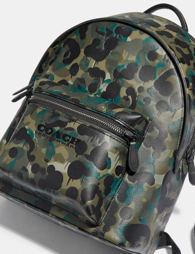 Coach Charter Backpack With Camo Print Matte Black/Green/Blue DEFAULT_CATEGORY Alternate View 5