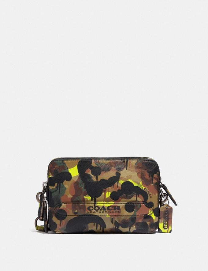 Coach Charter Crossbody With Hybrid Pouch With Camo Print Neon/Yellow/Brown 8.1 newness