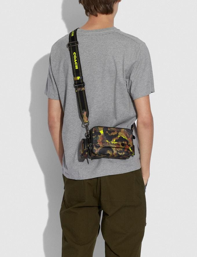Coach Charter Crossbody With Hybrid Pouch With Camo Print Neon/Yellow/Brown 8.1 newness Alternate View 3
