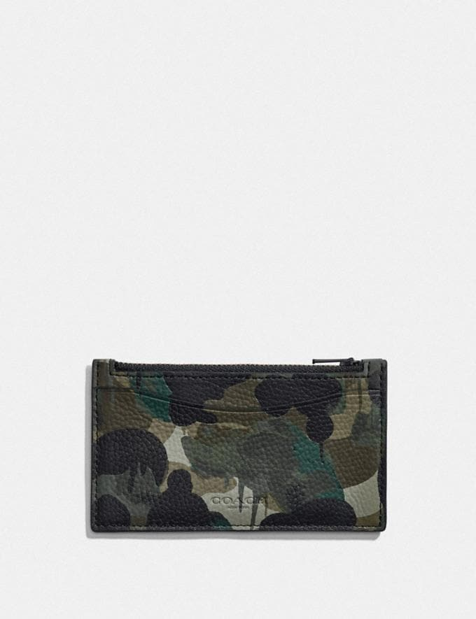 Coach Zip Card Case With Camo Print Green/Blue DEFAULT_CATEGORY