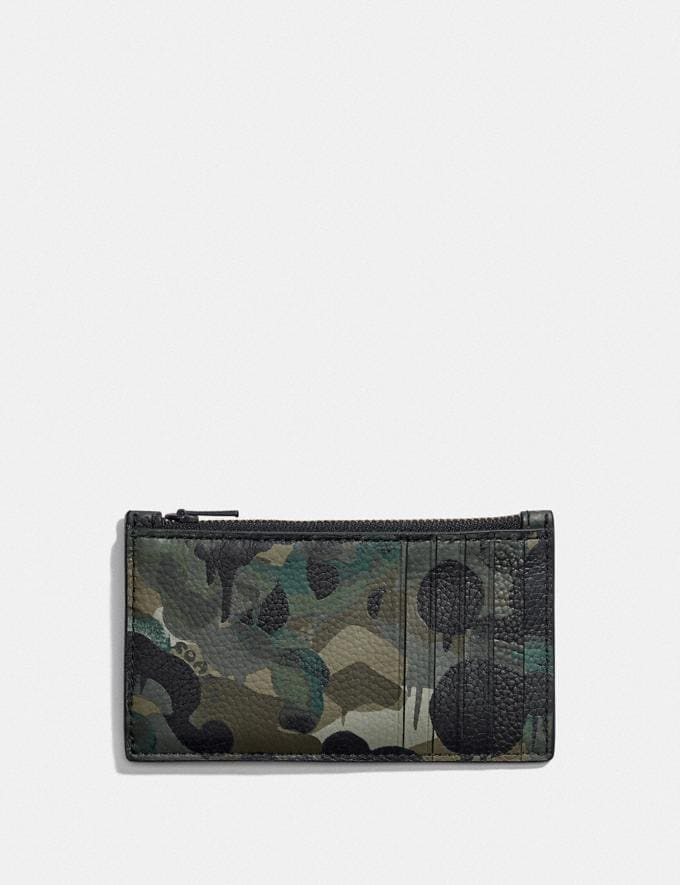 Coach Zip Card Case With Camo Print Green/Blue DEFAULT_CATEGORY Alternate View 1