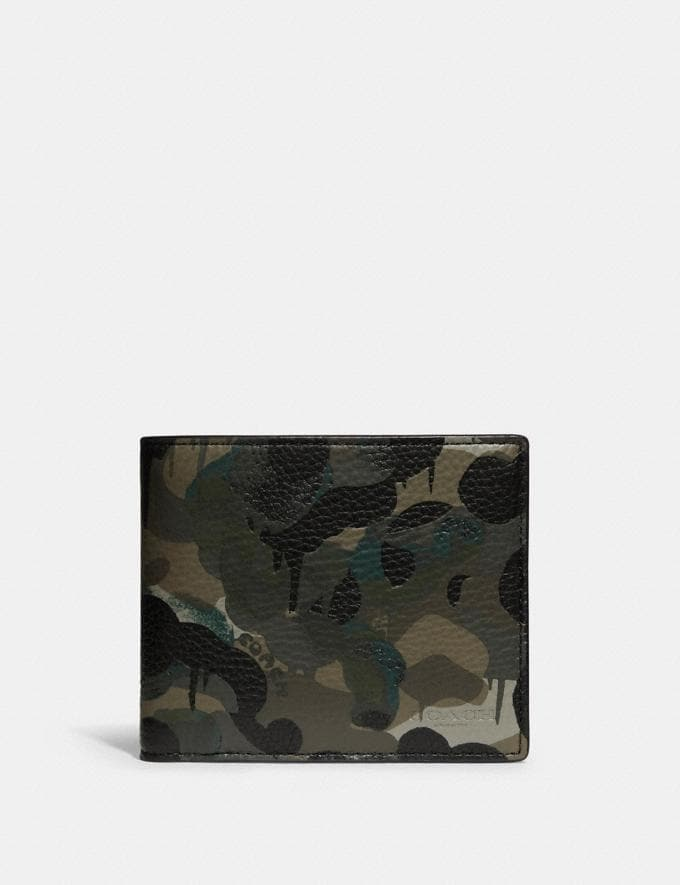 Coach 3-In-1 Wallet With Camo Print Green/Blue 8.1 newness