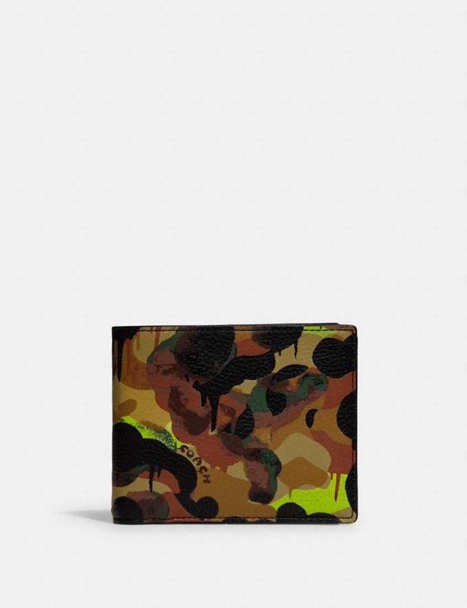 Coach 3-In-1 Wallet With Camo Print Neon/Yellow/Brown DEFAULT_CATEGORY